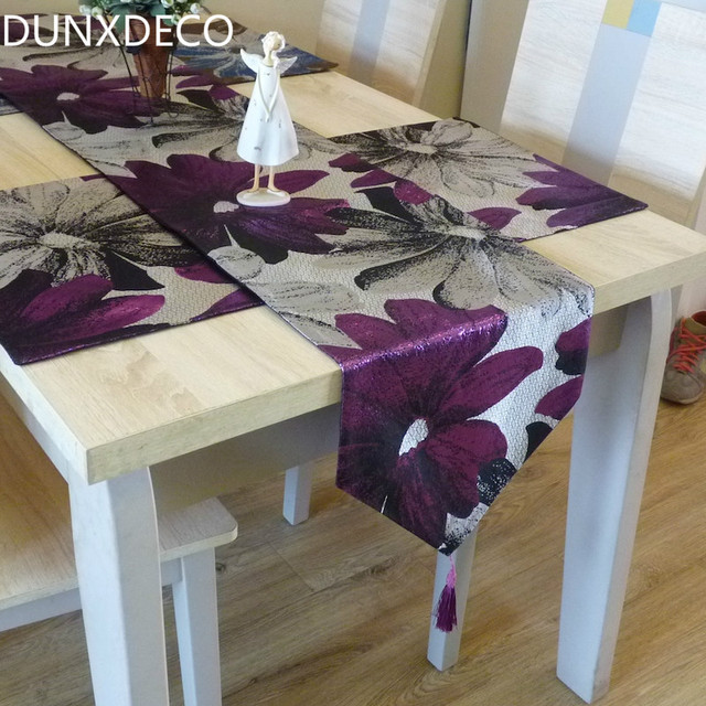 DUNXDECO Table Runner Silk Look Jacquard Big Purple Blue Flora Long Table  Cover Fabric Modern
