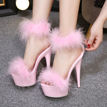 Women Sandals Black White Pink Ladies Stripper Shoes Plus Si