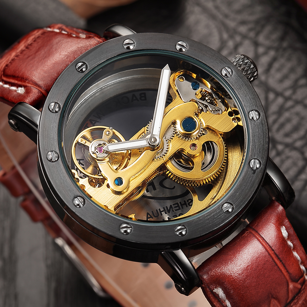 2018 Gold Black Men's Luxury Brand Automatic Mechanical Watches Hollow Out Transparent Skeleton Watches Genuine Leather Bands baogela hollow skeleton automatic mechanical watches mens top brand luxury leather band gold business wristwatch