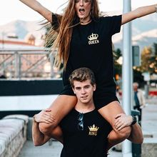 Valentine's Gift Funny Couple T Shirts King And Queen Love Matching Tees Tops Outfits Poleras De Mujer Moda 2018 For Him and her