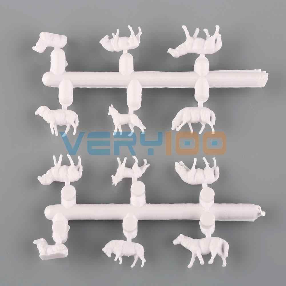60 PCS 1: 87 Dicat Putih Hewan Ternak Domba Collie Anjing Gembala Ho Skala Model