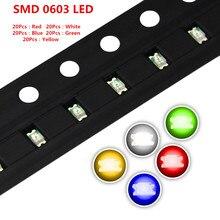 Eletrônica inteligente 100 pçs/lote 5 Cores 0603 SMD Led Super Brilhante Vermelho/Verde/Azul/Amarelo/Branco Water Clear Led Diodo