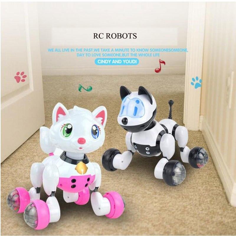 Robot rc Chats Électronique Chiens télécommande Pet jouets pour enfants Bébé Playmate animal de compagnie électronique Chat robot intelligent cadeau d'anniversaire