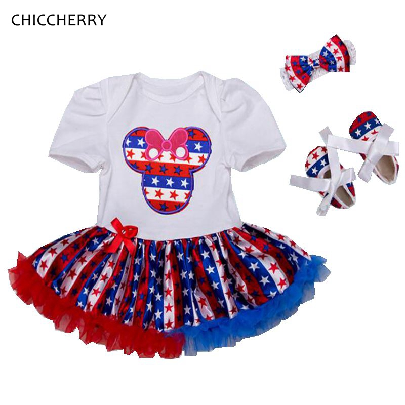 Stars Lace Petti Romper Baby Girl 4th of July Outfits Infant Lace Tutu Dress Headband Crib Shoes Vestido De Bebe Newborn Clothes