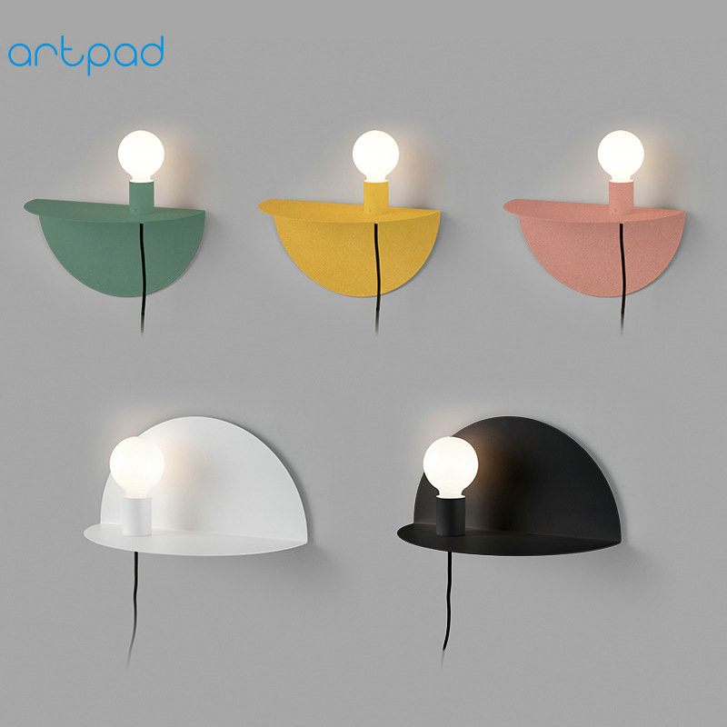 Artpad Nordic Multi Color Bedside Wall Lamp US/EU Plug in Simple Wall Lamps with Switch AC90-260V Metal Night Light for Children artpad pink blue cartoon figures led unicorn lamp e14 resin dimming eu us plug in kids baby night light for children