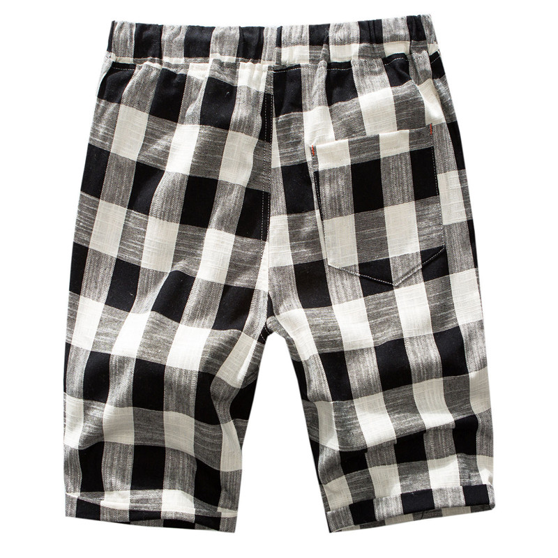 2018 New Summer Loose Casual Shorts Men Casual Plaid Mens Shorts Cotton Black Blue Plaid Shorts For Men