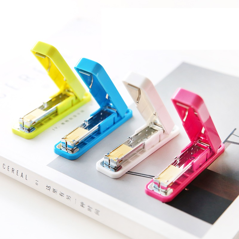 Mini manual staplers Fresh color stapler set 800 pcs color staples Paper binding office accessories school supplies F945