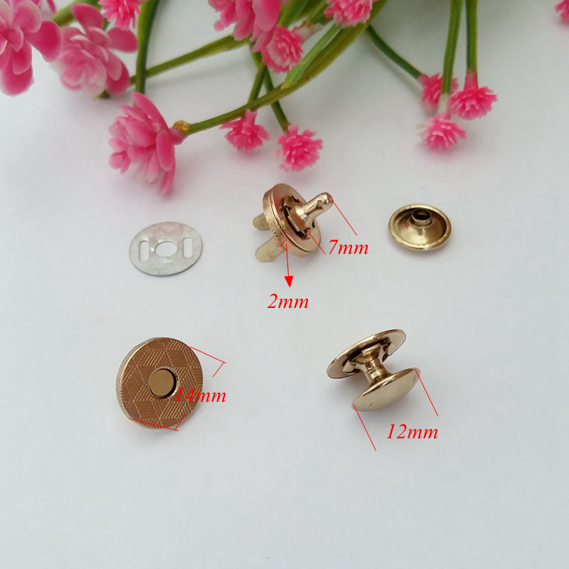 15sets lot 14MM Single rivets Magnetic Button Metal Magnet Buttons for Handbags Purse Metal Button Fastener for Wallet Bags in Buttons from Home Garden