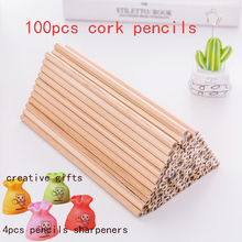 100PCs/lot Eco friendly Cork Pencil HB Black Hexagonal Non toxic Standard Pencil Practical Sketch Pens Wholesale price