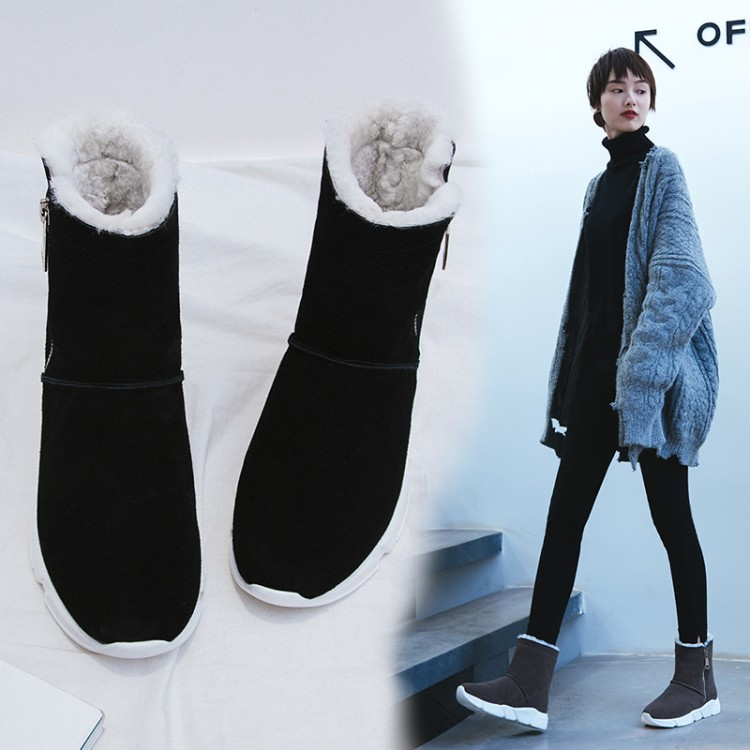 MLJUESE 2018 women ankle boots cow Suede gray color high heels winter warm wool wedges ankle