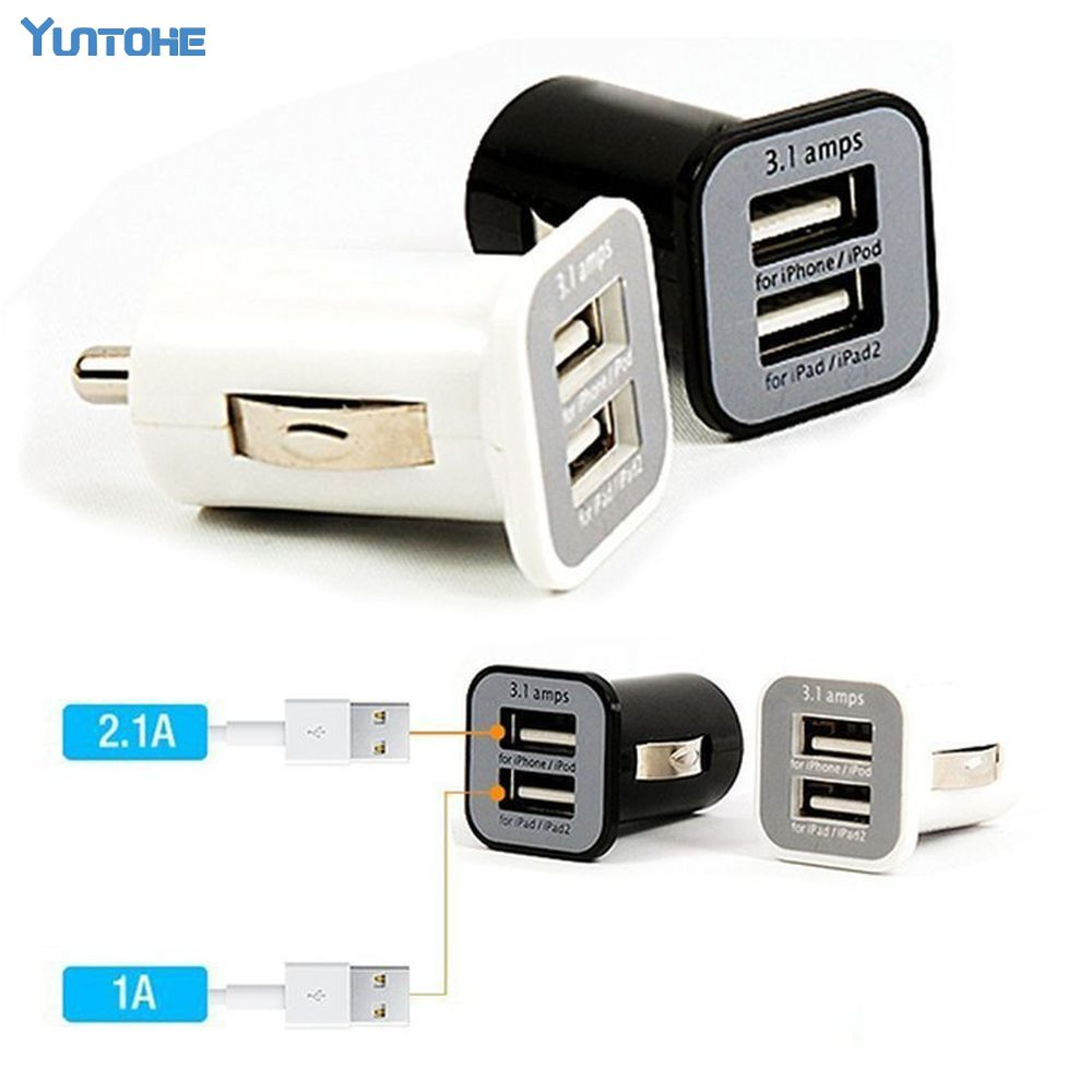 New Micro 3.1A Double Dual USB Car Charger Adapter For IPhone Xs Max XR X 8 7 6/ipod/ipad/Samsung/All Mobile Phone 200pcs/lot-in Car Chargers from Cellphones & Telecommunications    1