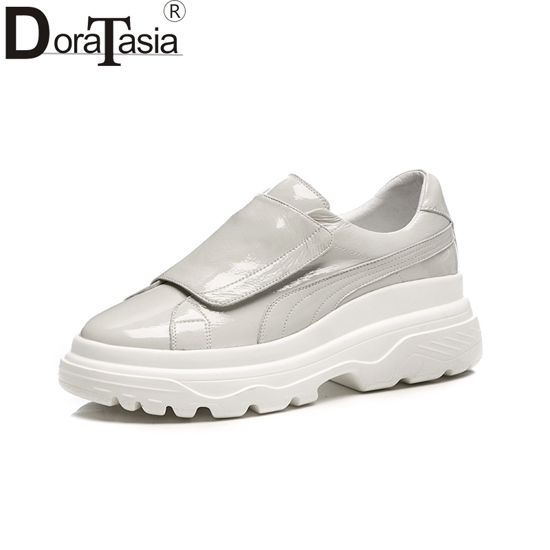 Doratasia 2019 Genuine Leather Brand Black Casual Platform Sneakers Flats Women Shoes Woman Leisure hook&loop Fashion Flats