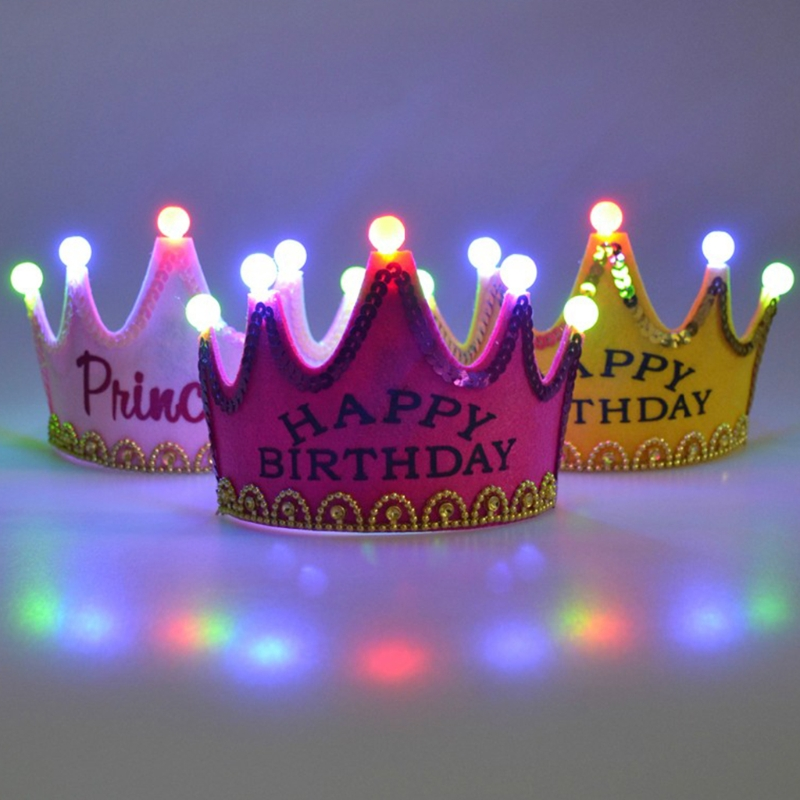 Enthusiastic Birthday Led Crown Kids Girl Birthday Party Decorations With Led Gold Flower Tiara Headband Party Supplies Hair Band Rich And Magnificent