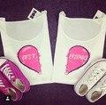 Kiwi 2016 Summer Cute Hearts T-shirt Women Tumblr Hipster Cool Tee Shirts BFF Jazrox TOP White Best Friends T shirt