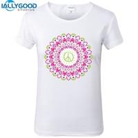 2017 New Summer Harajuku Peace Mandala T Shirts Funny Geometric Printing Women Tops Buddha Shirts Slim