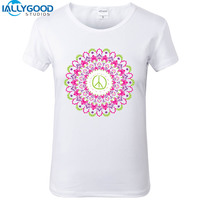 2017 New Summer Harajuku Peace Mandala T Shirts Funny Geometric Printing Women Tops Buddha Shirts Slim