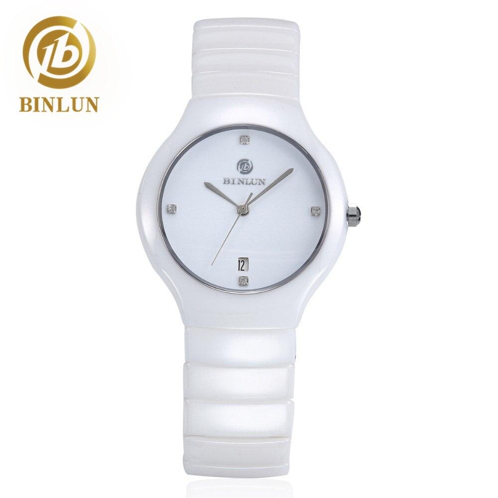 BINLUN Women's White Ceramic Watch Minimalist Waterproof Japanese Quartz Watch Lady Diamonds Bracelet Quartz Watch With Date