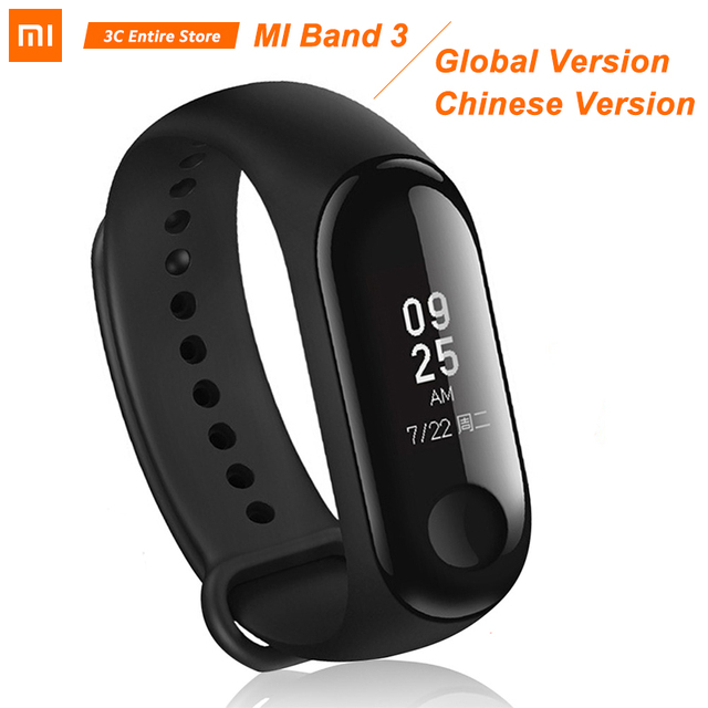 "Original Global Xiaomi Mi Band 3 Band3 Smart Bracelet Wristband 0.78"" OLED Instant Message Caller ID Miband 3 Fitness Tracker"