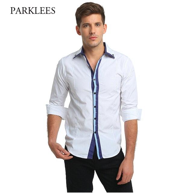 Marca Hombres de la Camisa Blanca Botón Casual Para Hombre