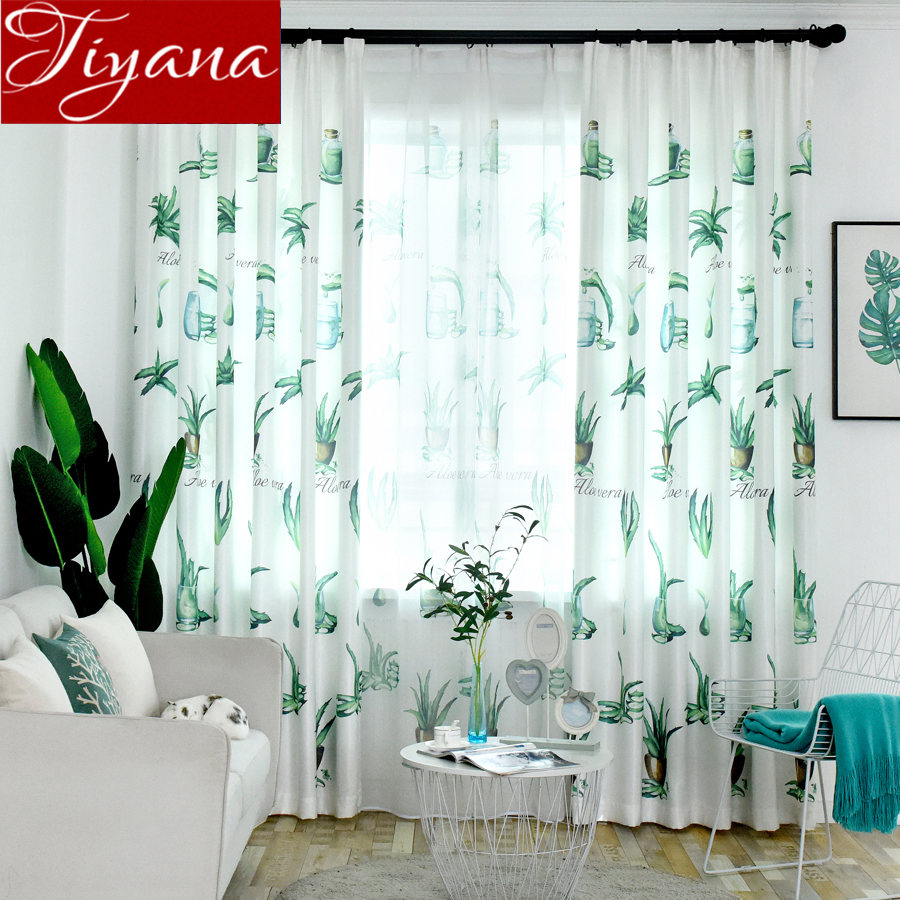 US $5.69 33% OFF Plant Curtain for Modern Window Bedroom Green Leave Design  Tulle Curtains Drapes Rustic Kitchen Sheer Fabrics Cortinas T&162 #30-in ...