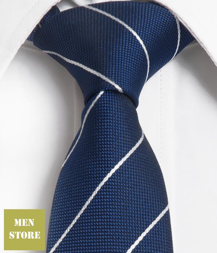 Blue White Stripes Men Jacquard Woven Skinny Slim Narrow 2.5