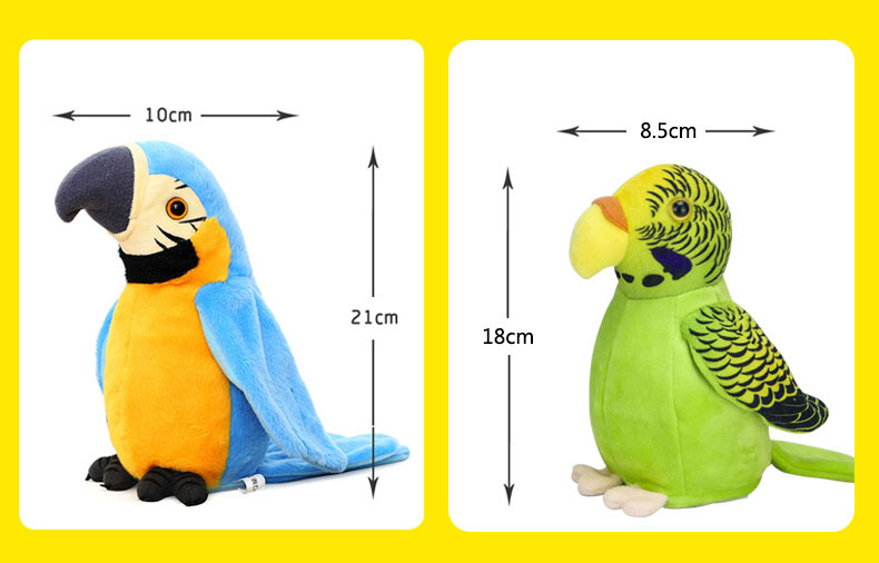 Talking Parrot Plush Toy size