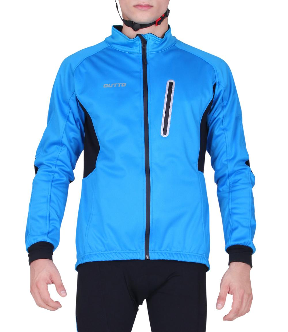 Outto Men's Windproof Winter Cycling Jackets Fleece Thermal Bicycle Clothing Long Sleeve Bike Windbreaker|Cycling Jackets| |  - title=