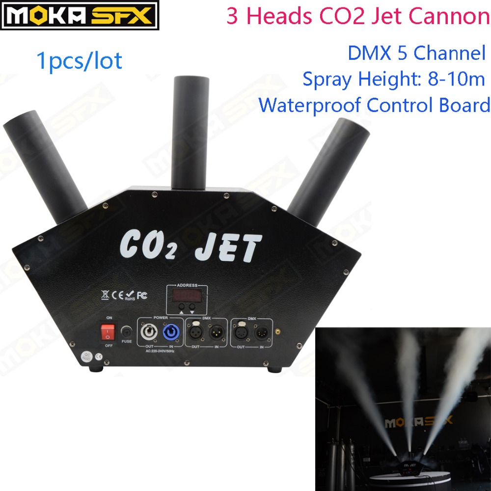 MOKA SFX 3Heads CO2 Jet Connon Waterproof Control Board DMX Control Special Effects Cryo Co2 Jet Fog Machine For DJ Stage Party