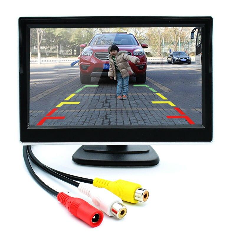 Moniteur de voiture de 5 pouces TFT LCD écran numérique couleur moniteur de vue arrière prise en charge VCD DVD GPS caméra avec 2 entrées vidéo
