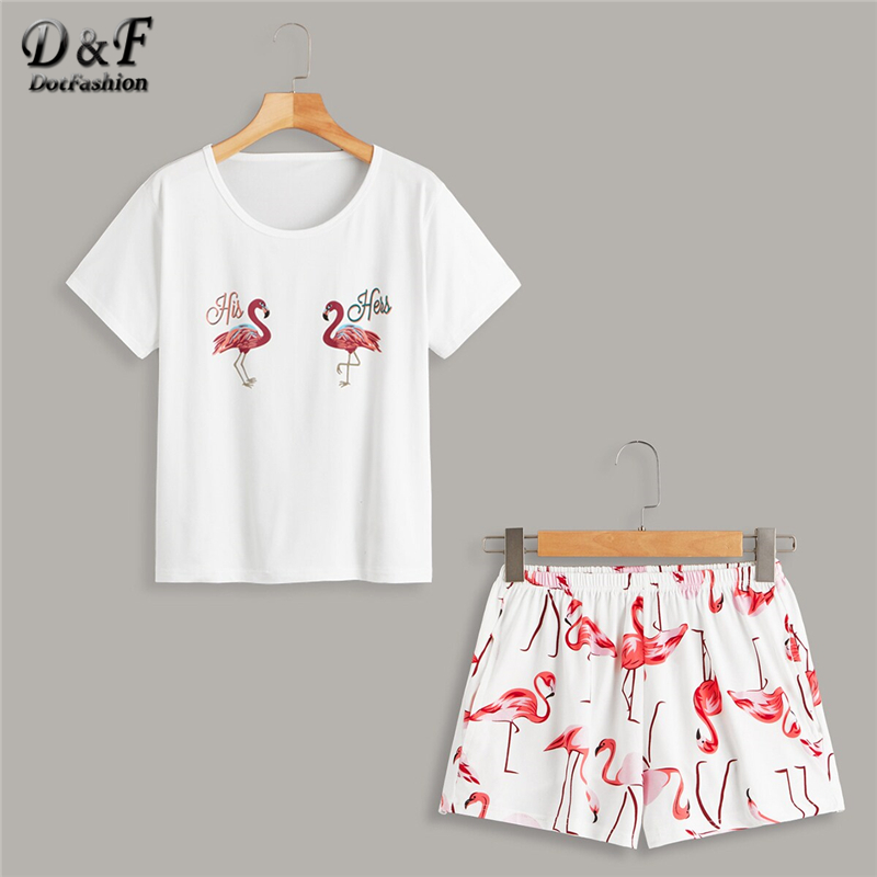 Dotfashion White Flamingo And Letter Print   Pajama     Set   2019 Summer Casual   Pajamas   For Women Spring Ladies Short Sleeve Loungewear