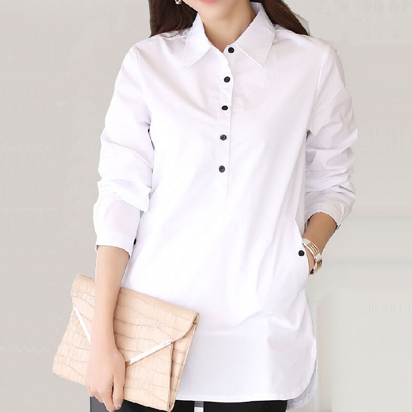 nuevo concepto 2613b e744d €14.6 6% de DESCUENTO|S 3XL camisas blancas de talla grande para mujer  Otoño Invierno cuello básico Tops largos Mujer Casual curva dobladillo  Blusa de ...