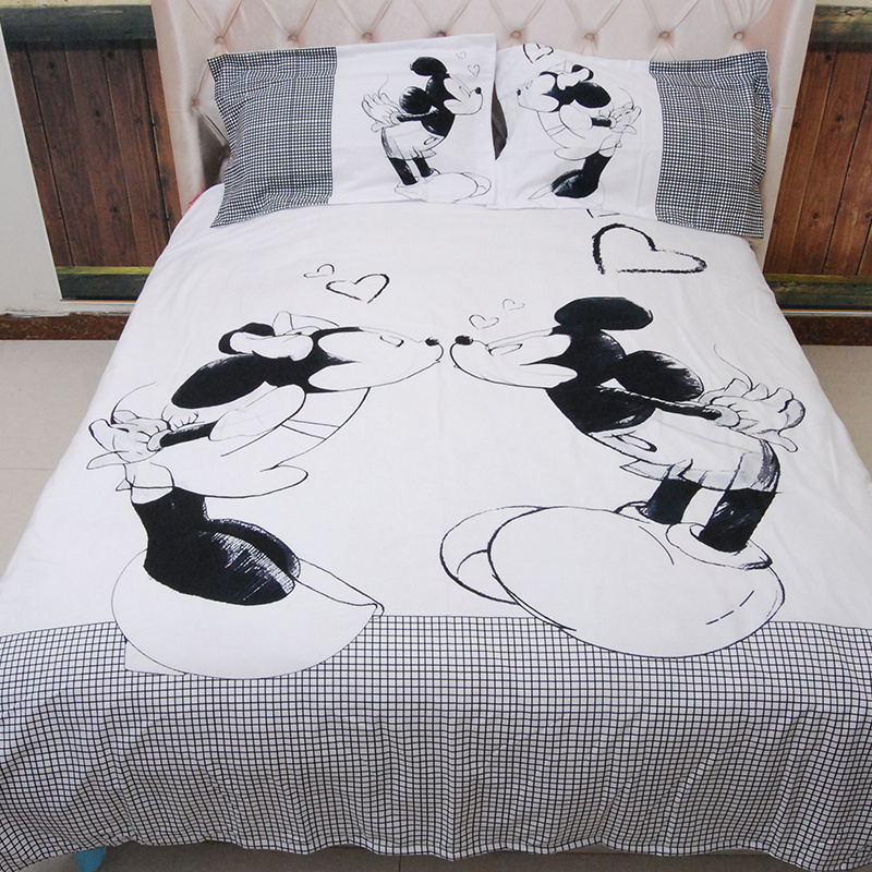 Mickey Mouse Bedding Sets Queen King Size Cartoon Black White Duvet Cover Quilt Cover Pillowcase