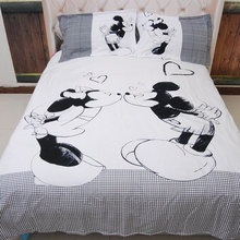Mickey Mouse Bedding Sets Queen King Size Cartoon Black White Duvet Cover Quilt Cover Pillowcase Bed Sheet 3PCS/4PCS Bed Linen(China)