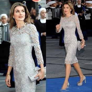 26e50480b Moda gris de la longitud de la rodilla vestidos para la madre de la novia  joya elegante manga larga vaina madre Formal vestidos fiesta barato
