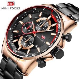 Image 2 - MINI FOCUS Mens Waterproof Business Watches Chronograph Quartz Luminous Wrist Watch for Man Stainless Steel Band Black MFS0218