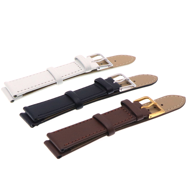 Watchbands Genuine Leather WatchBand Stainless Steel Buckle Clasp watch band leather strap 12,14, 16,18,20,22mm