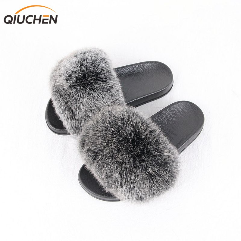 QIUCHEN NEW ARRIVAL Fashion Girls slippers with real fox fur high quality fox fur slippers Free