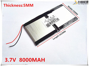 Литий-ионный аккумулятор 5076162 3,7 В 8000 мАч для PIPO M9 RK3188 Quad Core, M9, M99pro, M9Pro 3G планшетный ПК 5,0*76*162 мм