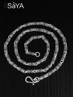 New Arrival Saya Brand 925 Sterling Silver Chain Necklace for Man 4.2mm Thickness 50cm Length with Tibetan Buddhist Syllable