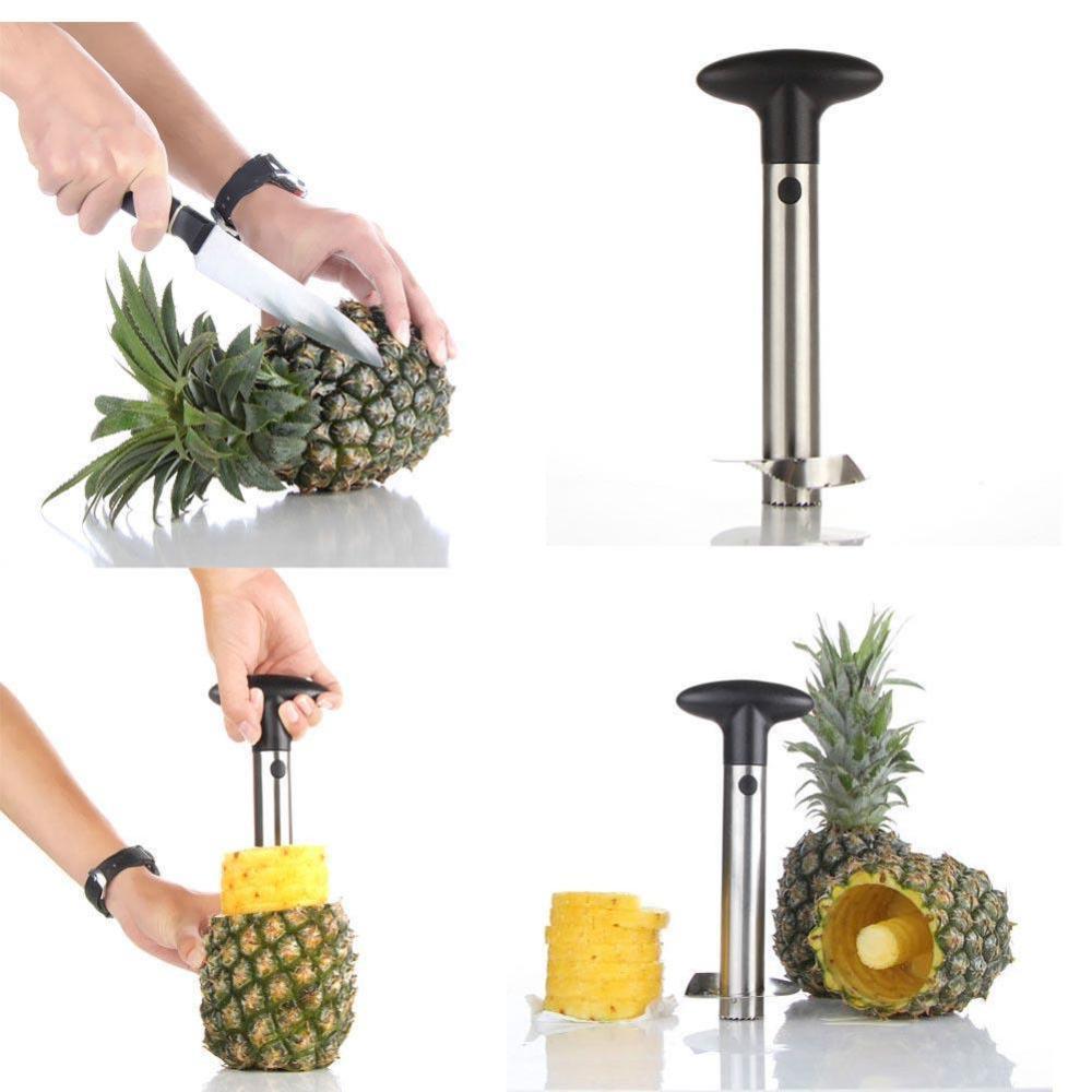 Stainless Steel Fruit Pineapple Corer Slicer Cutter Peeler Easy Kitchen Tool AT