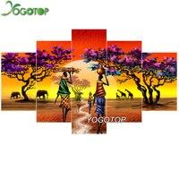 YOGOTOP DIY Diamond Painting Cross Stitch 5D Diamond Embroidery Full Diamond Mosaic Needlework African Elephant 5pcs