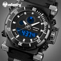 INFANTRY Dual Display Watch Relojes Masculino Men Clock Quartz Military Sports Watches Rubber Strap Water Resistant Wristwatches