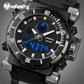 Infantry pantalla dual relojes reloj masculino hombres reloj de cuarzo militar deportes relojes correa de caucho relojes de pulsera resistente al agua