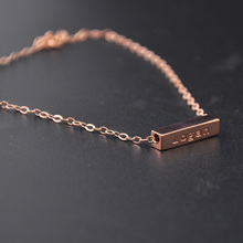 Wholesale Rose Gold 3D Bar Bracelet Engrave Words Custom Name Bracelet Cube Lucky Bracelet