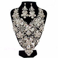 Luxury Full Clear Rhinestones Statement Flower Necklace Earrings For Women Bridal Wedding Party Jewelry Sets