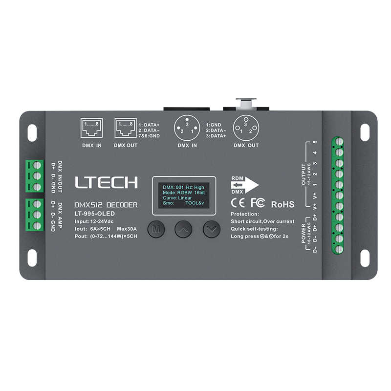 New Ltech Led DMX Decoder DC12V -24V input;6A*5CH Max 30A 720W output RGB/RGBW Led CV Decoder XLR-3/RJ45 Connector OLED screen