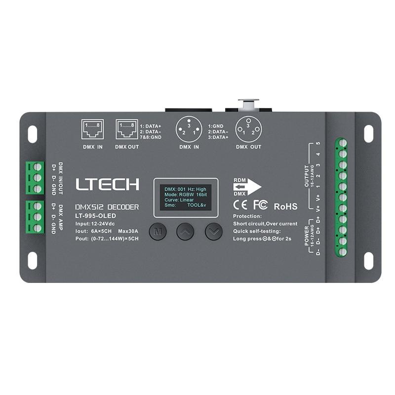 Nova Ltech Levou Decodificador DMX DC12V-24 V de entrada; Max 30A 720 W saída 6A * 5CH RGB/RGBW Led Decodificador CV XLR-3/RJ45 Conector tela OLED