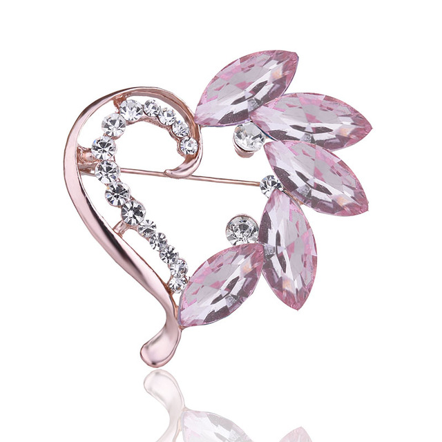 Colorful Heart with Leaves Shaped Women's Rhinestone Brooch