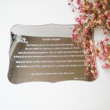 Silver mirror scroll shape acrylic wedding invitation card 120*170mm (1lot=100pcs)