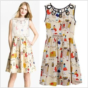 fc9cdf9512562 US $14.86  2013 women fashion Free Shipping Emulation silk chiffon cartoon  dog print dresses hollow out sleeveless skirt HH1361002-in Dresses from ...